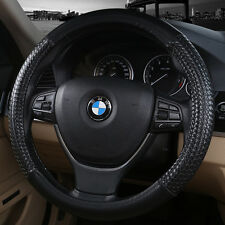 38cm Soft Leather Vehicle Auto Car Truck Steering Wheels Cover Black For BMW