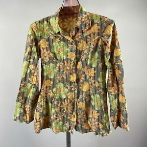 Vtg 70s Orange Green Hippie Mod Floral Print Long Sleeve Snap Close Blouse XS