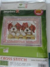 Cross Stitch Needlepoint Chinese Instructions Deep Love Spaniel Puppies New