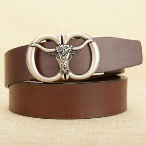 Mens Leather Belt Bull Head Automatic Buckle Ratchet Belts Waistband Strap Waist