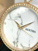 Bertha Women's Watch BR6404 Frances Quartz White Dial Leather Strap 36mm
