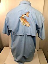 HOOK & TACKLE Embroidered REDFISH Mens Medium TEXAS SLAM Technical Fishing Shirt