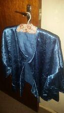 womens blue crushed satin loose 3/4 sleeve jacket size 16