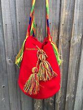 Authentique colombiano tribus Wayuu Mochila dos sebácea unicolor rojo