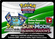 Pokemon TCG SM BURNING SHADOWS : VIRTUAL ONLINE CODE CARD X 100