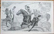 Tamagno/Artist-Signed Art Nouveau Polo 1902 Postcard - Polo Players, Horses