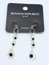 New Silver Tone Black Rhinestone Dangle Earrings by Banana Republic NWT #BRE5
