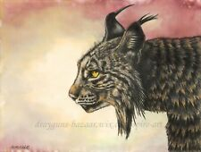 "SFA Original Art 9x12"" Animal Wild Cat Lynx Fur Realism Portrait CP Ink SMcNeill"
