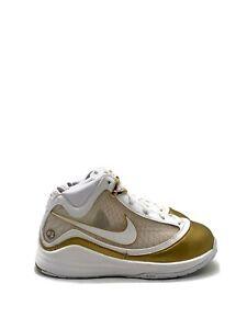 Nike Lebron VII QS Preschool Casual Shoe White Metallic Gold CK0718-100 Size 2Y