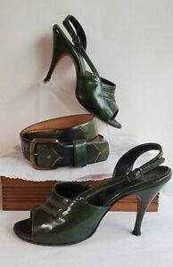 "VTG 50s 'Treat' A'mano ""Hand Made"" Roma Last Green patent leather heel 4B & belt"