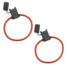 ATC/ATO Inline Red 10 Gauge Wire DC Power Supply Fuse Holder Pack of 2