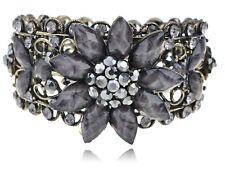 Smoke Black Gray Crystal Rhinestones Floral Vintage Gift Cuff VTG Bracelet