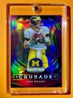Tom Brady RARE PURPLE PRIZM REFRACTOR CRUSADE MICHIGAN DRAFT PICKS CARD - Mint!