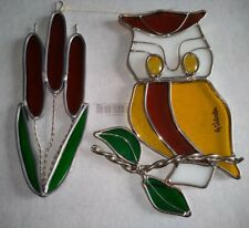 Vintage Stained Glass / Suncatcher Owl And Cattail Set