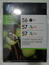 New Genuine HP 56/57/57 Combo Pack Black Tri-Color Ink Cartridges Feb 2012