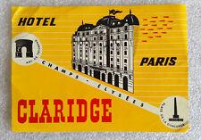 Vintage Old Rare ✱ HOTEL CLARIDGE / PARIS ✱ Hotel luggage label Kofferaufkleber