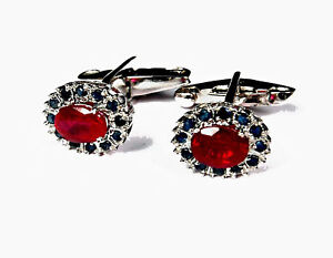 Natural Ruby & Sapphire Gem Stone Solid 925 Sterling Silver Men's Cufflinks