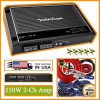Rockford Fosgate Prime R150X2 150 Watt 2-Channel Amplifier Class A/B + 4-Ch Kit