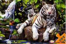 """Jigsaw Puzzle 1000 Pieces """"White tiger family"""" / Chamber art"""
