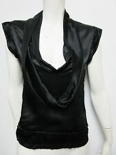 YSL Yves Saint Laurent Silk Sleeveless V-neck Women's Black Blouse Top 36/0 NEW
