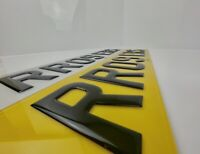 Premium Pair Of Road Legal 3D Gel Raised Domed Gloss Black Number Plates