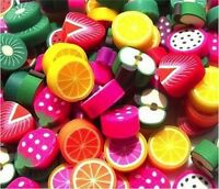 40 MIXED FIMO POLYMER FRUIT CLAY BEADS - APPLE ORANGE KIWI LEMON SAME DAY P&P