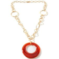 Technibond Real Red Agate Disc Chain Necklace 14K Yellow Gold Clad Silver HSN