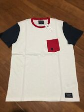 Abercrombie & Fitch White Navy Red Pocket Tee Top T Shirts US SZ M NEW