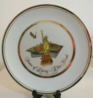 Vintage Statue Liberty Ellis Island Gold Decorative New York Collectable Plate