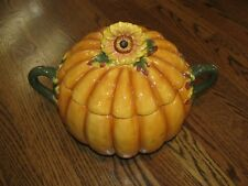 LARGE CERAMIC LIDDED PUMPKIN TUREEN with Sunflower and Autumn Leaf Accents