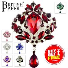 EXTRA VERY LARGE DIAMANTE CRYSTAL VINTAGE PIN BROOCHES WOMEN SILVER GOLD ANTIQUE