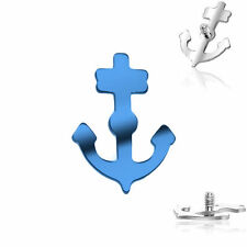 Sea Anchor Dermal Top 16g Internally Threaded Titanium Labret,Blue Or Silver