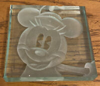 Disney Robert Guenther Minnie Mouse Paperweight Square Glass Signed 441/1000
