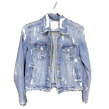 Zara Trafaluc denim distressed jacket size junior's large