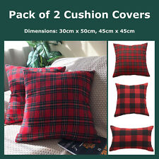Pack of 2 Poly Fuzzy Classic Buffalo Check Plaid Cushion Covers Red Pillow Cases