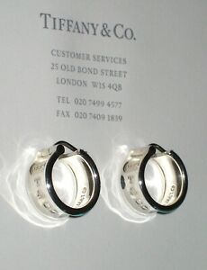 Tiffany & Co 1837 Sterling Silver Solid Pierced Ears Wide Hoop Earrings