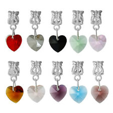 ❤ 10 x Silver Plated GLASS HEARTS European Spacer Bead Charm Dangle Bracelet ❤