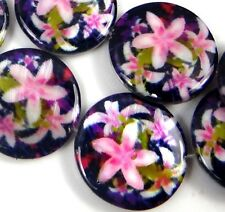 20mm Pink Lily Flower Mother Of Pearl Coin Disc MOP Beads 16""