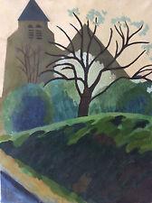 Peinture sur toile art naïf paysage signature illisible cira 1950