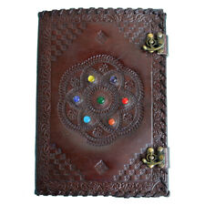 Circular 7-Stone Leather Cover Handmade Paper Journal Notebook Diary, 200 Page