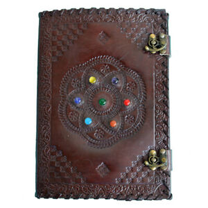 """7 Stone Chakra Journal, Leather Cover Handmade Paper Notebook Diary, 9"""" x 5"""""""