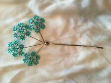 Rare and Unique Vintage Hair/Hat Accessory, Spinning Turquoise Flowers, 1950's