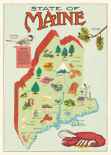 Cavallini & Co. Maine Map Decorative Paper Sheet / Poster / Wrap