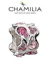 Genuine chamilia & Plata Esterlina 925 Swarovski Paisley Rosa Espaciador encanto, Raro