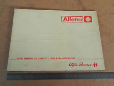 ALLEGATO AL MANUALE USO MANUT. ORIGINALE ALFA ROMEO ALFETTA QUADRIFOGLIO ORO '82