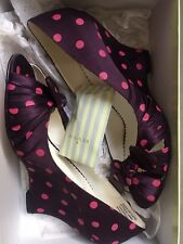 Purple Satin Wedges With Polka Dot Pattern - Never Worn.