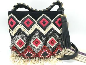 AUTH $598 Tory Burch Small Brooke Embellished Calfskin Leather Hobo Bag In Black