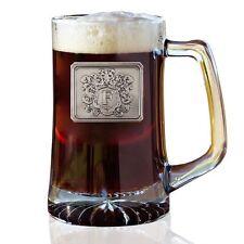 Beer Mug - Large Thick Heavy Glass Novelty Pint Mug - Monogram Initial Pewter