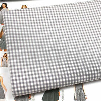 KENT 3 FRENCH GREY GINGHAM fabric  BY THE METRE dressmaking fashion Cotton blend