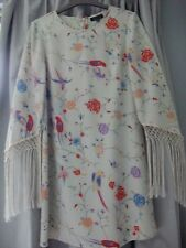 Topshop Silky Floral & Bird Print Tunic Dress With Fringe Trim Sleeves - Size 8